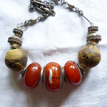 Chunky African Style Necklace with Morroccan Amber Resin beads and Bodom Beads