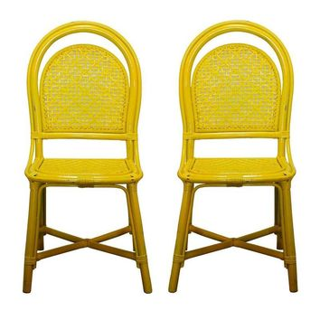 Pre-owned Vintage Yellow Rattan Cafe Chairs - A Pair