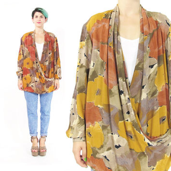 80s Wrap Front Blouse Abstract Floral Print Shirt Draped Blouse Womens Long Sleeve Blouse Warm Tones Orange Brown Fall Winter Cowl Top (L)