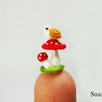 Snail and Mushroom - Micro Amigurumi Crochet Tiny Stuffed Animal - Made To Order