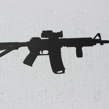 Assault Rifle Sign Metal Wall Art Hunting Military Decor