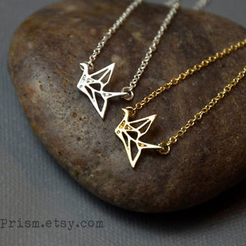 Origami Crane Charm Pendant / Gold or Silver Chain Necklace / Dainty Delicate necklace / Simple Necklace
