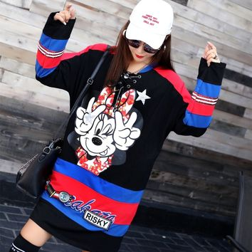 Girls' Student Kawaii Long Design Pullovers Cartoon Sequins Hoodies Color Block Spliced Sweatshirts Plus Size Loose Tops