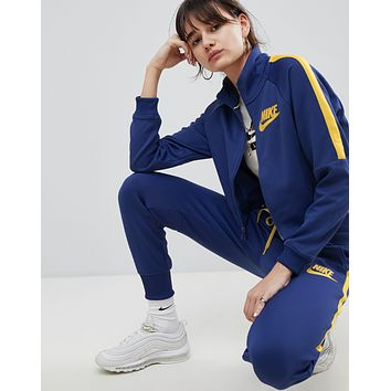 Nike Cropped Track Jacket Polyknit Tracksuit Pants Set Two-Piece