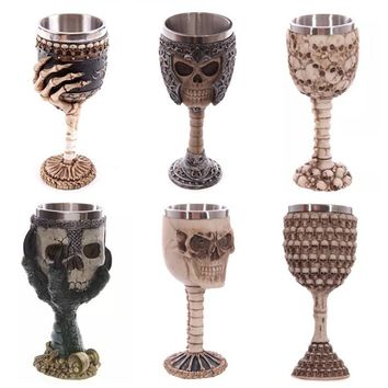 200ml Double Wall Resin Stainless Steel 3D Skull Drinking Mug Personalized Dragon Bone Skull Metal Wine Goblet