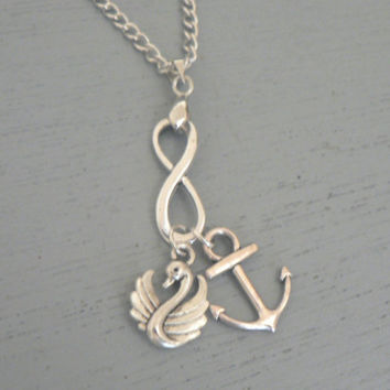Captain Swan Forever Necklace Once Upon A Time  ABC Tv Show Inspired Jewelry OUAT Emma Swan Captain Hook