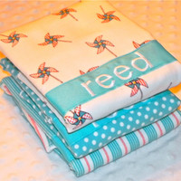 "SALE Personalized Burp Cloth Set - Baby Boy Flannel ""Children at Play"" Aqua and Orange Pinwheels Stripes and Dots"