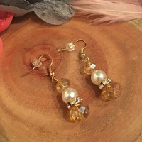 Flapper Style Yellow Iridescent Pearl Rhinestone Earrings Gold Dangle 1920's Art Deco Beaded 1920s Gatsby 20s Jewelry Downton Abbey Vintage
