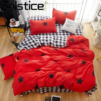 Solstice Home Textile Hot Red Bedding Set Kid Teen Girls Linens Star Duvet Cover Pillowcase Plaid Bed Sheet King Queen Full Size