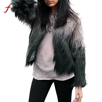 Elegant Faux Fur coat women Fluffy warm long sleeve female outerwear Black chic autumn winter coat hipster jacket hairy overcoat