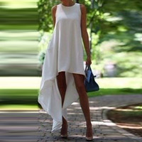 White Sleeveless Asymmetrical Dress