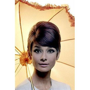 AUDREY HEPBURN FRESH head shot with umbrella poster COLLECTIBLE rare 24X36