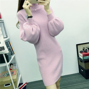 SMTHMA 2017  Winter Dress Hepburn Style Lantern sleeve Women Knit  Dress Elegant Female Winter Dress