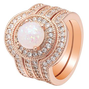 Exaggerated White Fire Opal Big Ring Jewelry Rose Gold Color Fashion CZ Punk Multi-layered Wedding Bands Ring Set For Women Gift