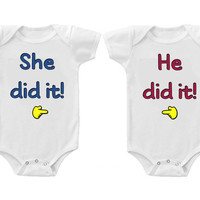 Twins Baby Boys Girls Funny Bodysuits Creeper He She Did It