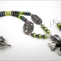 Silver Pewter Flower Peacock Button and Lime Green Pearl Necklace Set