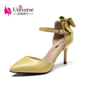 Universe Elegant Pumps Wedding shoes Party shoes with Butterfly-knot Sweet Super High Heel Women Shoes G115