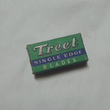 1950s Vintage Treet Single Edge Razor Blades in Original Box, American Safety Razor Corp. Made in USA, Vintage Shaving Item, Vintage Vanity