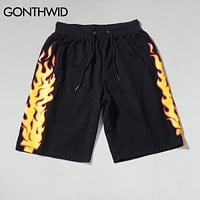 GONTHWID Fire Flames Printed Sweat Shorts Mens Summer Cotton Casual Elastic Waist Drawstring Shorts Hip Hop Sweatpants Shorts