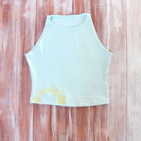 Mint Crop Top With Embroidered Sun-Yoga Crop Top-Hipster Crop Top-American Apparel Crop Top