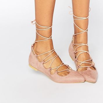 Pink | Glamorous Dusty Suede Pink Ghillie Tie Up Flat Shoes at ASOS