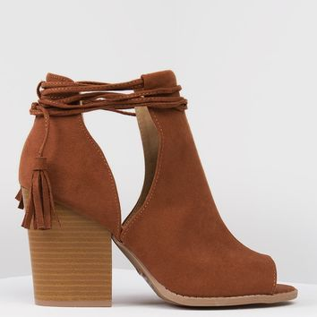 LOW CUT SIDES LACE UP PEEP TOE BOOTIES - Just In - What's New