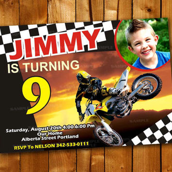 Motorcross , Birthday Invitation for little boy and little girl