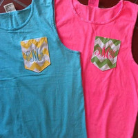Personalized monogrammed neon Pocket tank with custom pocket