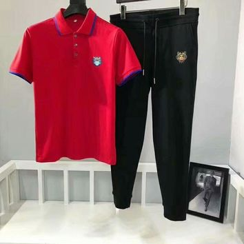 kenzo  Red polo shirt + black trousers suit 66055