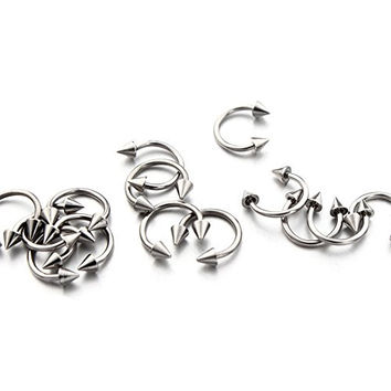 Vcmart 16G 316L Surgical Steel Circular Horseshoe Barbell W/ Spike Lip Septum 8mm