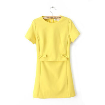 Star Butterfly Round-neck Short Sleeve Slim Skirt One Piece Dress [4917815044]