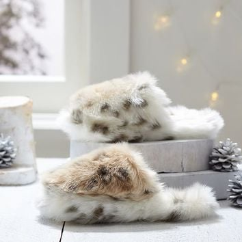Faux Fur Slippers, Snow Leopard