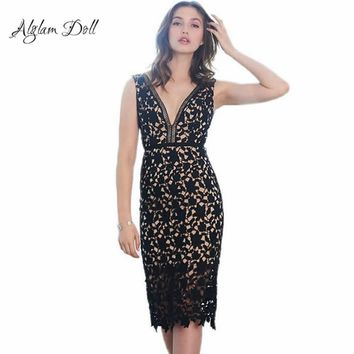 Alglam Doll Sexy Women Crochet Lace Deep V-Neck Backless Hollow Out Pencil Dress Slim Sheath Bodycon Night Club Party Vestido