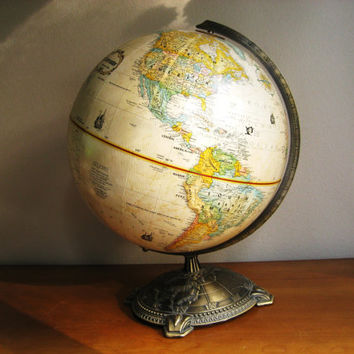 Vintage Replogle Globemaster 12 inch World Globe, Brass Toned Stand, Antique Color
