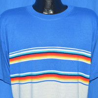 80s Blue White Acrylic Rainbow Striped t-shirt Large