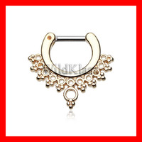 Gold Septum Clicker 16g 14g Golden Grand Entice Filigree Septum Ring Earring Cartilage Piercing Tragus Ring Helix Conch Nose Belly Nipple