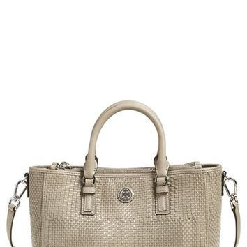 Tory Burch 'Robinson' Double Zip Woven Leather Multi Tote