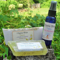 For the Girl who loves Yoga! Organic Yoga Mat Spray with 2 Soaps,Lemongrass & Green tea and Lavender  with Oatmeal.