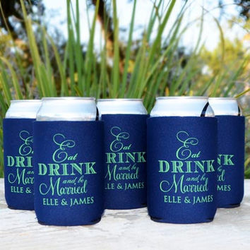50 Foam Personalized Eat Drink and Be Married Wedding Koozies