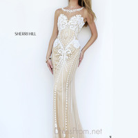 Beaded Illusion Neckline Formal Prom Gown By Sherri Hill 9737