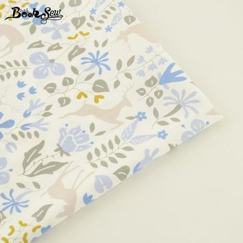 Booksew Home Textile For Patchwork Bedding Cloth Baby Pillow Quilting Blue Flower And Sika Deer Pattern Cotton Twill Fabric