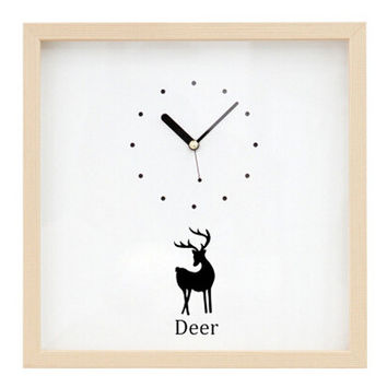 cute deer clock wood