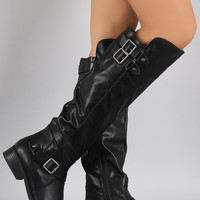 Dollhouse Triple Buckled Strap Riding Knee High Boots