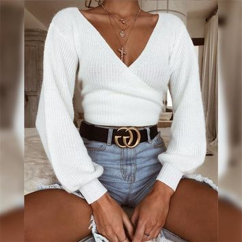 V-neck Long Bishop Sleeves White Wrapped Cropped Sweater