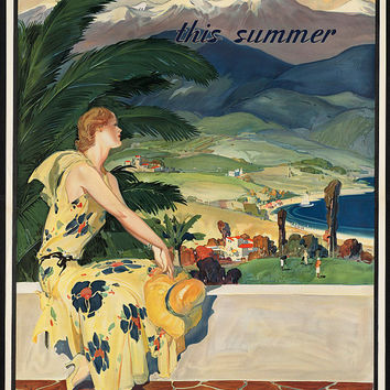 "c.1930s ""Visit California this Summer"" Travel Poster- -Antique-Old-Vintage Reproduction Photograph/Photo: Gicclee Print. Frame it!"