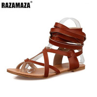 Size 30-50 Women Flat Shoes Bohemia Lace-Up Sandals Fashion Women Shoes Classic Design Gladiator Sandals  Women Sandals PA00608