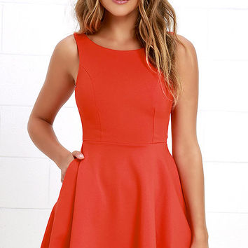 Wanderlust Orange Skater Dress