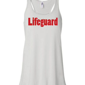 Lifeguard tank top, flowy tank, beach coverup, pool, swimming