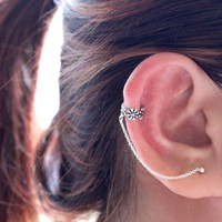 Flower Ear Cuff Chain Earring, Sterling Silver Ear Cuff chain, Cuff Earring, Ear cuff with chain, Ear Cuff Earring, Cartilage