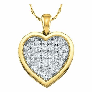 10kt Yellow Gold Women's Round Diamond Cluster Small Heart Love Pendant 1-20 Cttw - FREE Shipping (US/CAN)